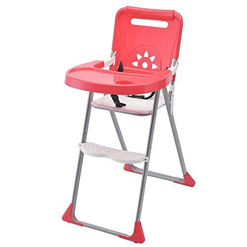 Tbaobei-Baby Chaise Haute Chaise Haute bébé Alimentation réglable Chaises Hautes Solution avec Plateau for Les Nourrissons de bébé Tout-Petits bébé Chaise Haute Chaise Haute Portable (Color : Red)