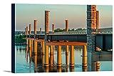 Yanton, South Dakota - New Discovery Bridge with Sunset Orange Light 9011201 (18x12 Gallery Wrapped Stretched Canvas)