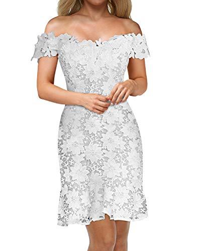 Auxo – Vestido de noche elegante para mujer, encaje, manga