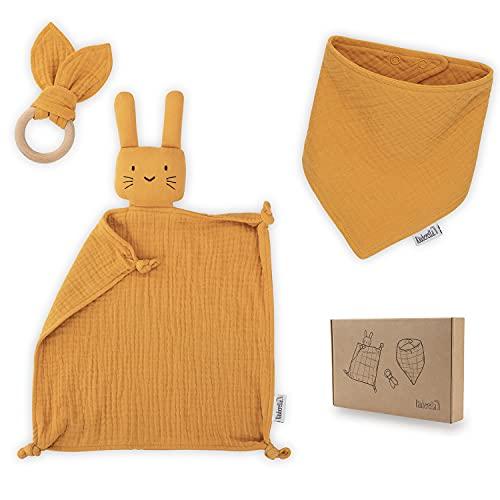 Räuberella Schmusetuch, Beißring und Lätzchen Baby Geschenk zur Geburt Junge & Mädchen (Ocker)