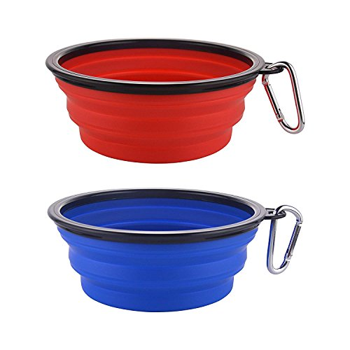 MOACC Large Collapsible Dog Bowl, Silicone Portable Pet Food Water Bowl Foldable Expandable Cup Dish for Pet Cat Food Water Feeding with Carabiner Clip for Travel, Set of 2