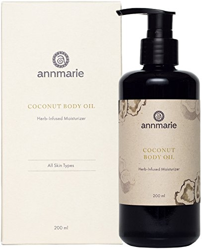 Annmarie Skin Care Coconut Body Oil - Herb Infused Moisturizer with Extra Virgin Coconut Oil + Rooibos (200 Milliliters, 6.8 Fluid Ounces)