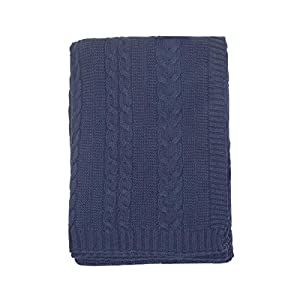 NoJo Kimberly Grant Cable Knit Blanket, Navy (8240491)