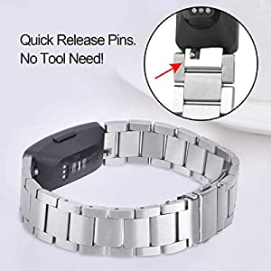 Koreda Compatible with Fitbit Inspire HR Bands & Fitbit Inspire Band, Stainless Steel Inspire Metal Strap Replacement Wristband Compatible with Fitbit Inspire &Inspire HR Fitness Tracker (Sliver)