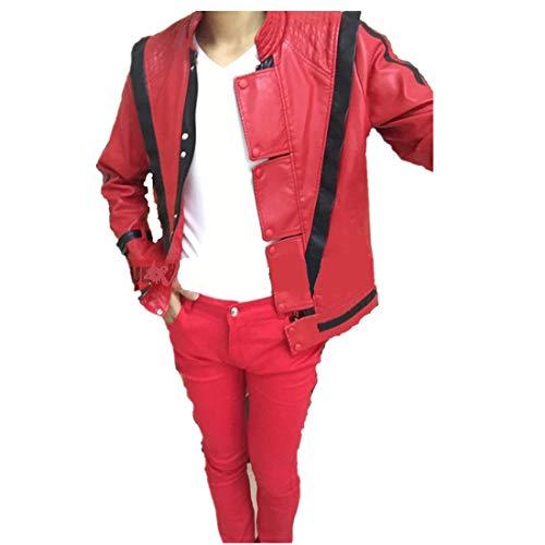 Shuanghao Michael Jackson Leder Thriller Red Jacket Hosen und kostenlose Billie Jean Glove (M: H 170-175cm)