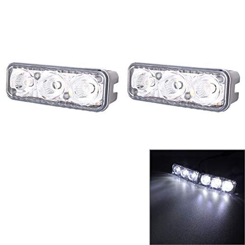 Luoshan 2 PCS MZ 9W 540LM 6500K 3-LED de luz Blanca Atado con Alambre Coche diurno de la luz Corriente de Faros antiniebla, DC12-24V, Alambre de luz: 15cm (Color : Color1)