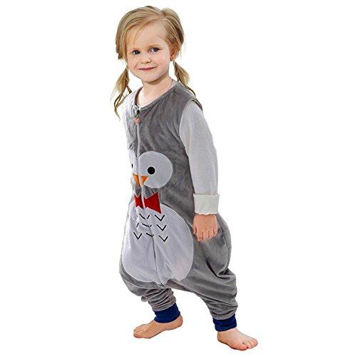 *ZEEUPAI – Baby Flanell Schlafsack mit Beinen Füße Baby Kind Schlafanzug (Graue – Eule, S (1-3 Jahre))*
