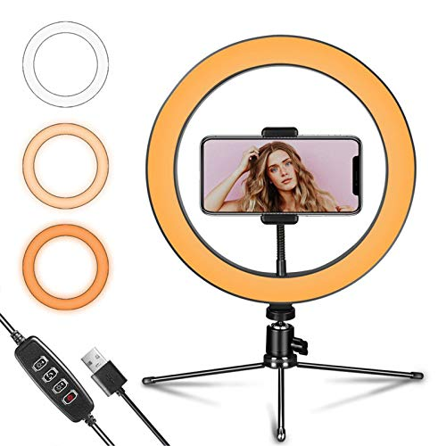 Ultexon LED Ring Light 10' with Tripod Stand and Flexible Phone Holder for...