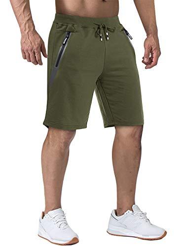 Tacvasen Herren-Laufshorts, 12,7 cm, leicht, mit Reißverschlusstaschen -  Grün -  50