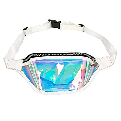 Clear Fanny Pack for Women Summer Transparent Beach Bum Waist Bag with White