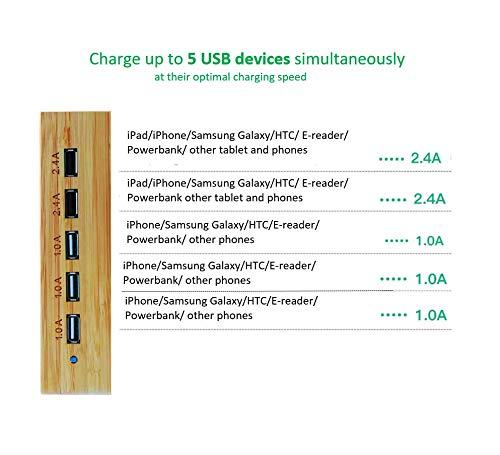 Yisen Handliche Holz-USB-Ladestation für Smartphones mit 5 Anschlüssen, für iPhone, iPad, Universal-Handys, Tablets und andere USB-Geräte (mit Netzkabel)