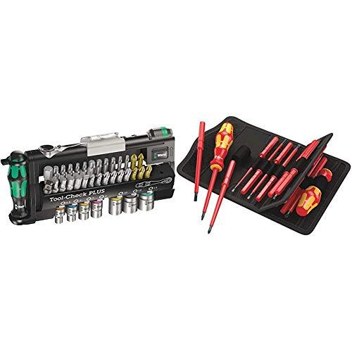 Wera Tool-Check Plus Mini Bit Ratchet, Socket, Screwdriver & Bit Set, 39pc, 05056490001 & Kraftform Kompakt VDE 17 Universal 1 Interchangeable Screwdriver Set with Twin Handle, 17PC, 05059030001