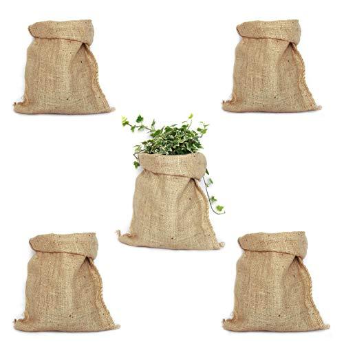 TBG Confezione da 5 sacchi di iuta 100% naturale, sacchetti ecologici, ideali per decorare cucina, giardino, feste vintage e orto urbano, organizzatore rustico per verdure e piante (26 x 48 cm)