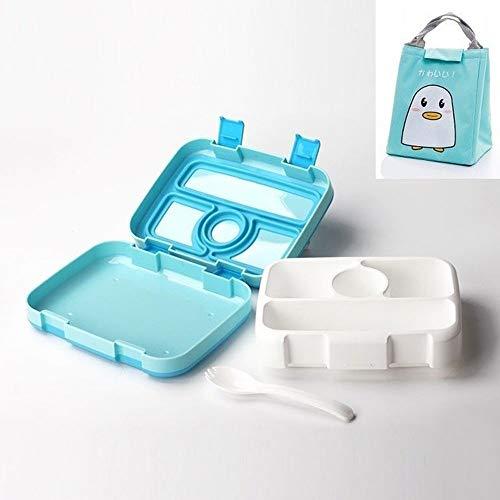 W.Z.H.H.H Lunch Box Lunch Box for Kids Frutta Contenitore di alimento Portable Microwave Scuola Compartimento Tenuta ermetica Bento Box Bambini Cucina Storag Dispensa (Color : Blue 4 And Bag)