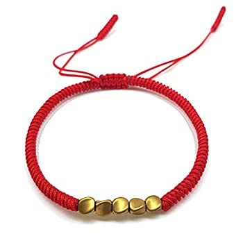 Original Handmade Bracelet Copper Tibetan Bracelet Bead Lucky Rope Bracelet Bangles For Women Men Wax Thread Bracelets with Red Color and Gift Box by LaMi Handmade