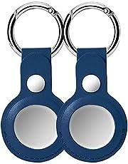 GOGME voor AirTag 2021 PU Lederen Case Bluetooth Tracker 2 Pack Beschermhoes Sleutelhanger