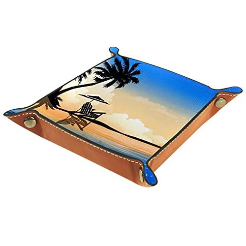 Hermosa caja de reloj de piel de árbol de coco de palma de verano para oficina en casa o bar de café