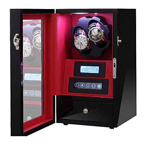 QuRRong Watch Winder Meccanico Automatico Watch Winder Box a Batteria o Adattatore AC con 2 posti Winding (Color : Red, Size : One Size)