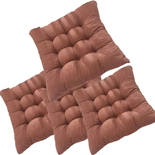 4 Pack Dining Chair Pad Cushion with Ties, Comfy Soft Chair Pads Seat Cushions Cover Classic Design Soft Polyeste 15.7' x 15.7' for Dining Chairs, Office Chairs, Carpeted Floors ( Color : Brown )