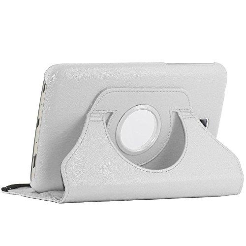 ebestStar - kompatibel mit Samsung Galaxy Tab 3 7.0 Hülle SM-T210, GT-P3210 P3200 Rotierend Schutzhülle Etui, Schutz Hülle Ständer, Rotating Case Cover Stand, Weiss [Tab: 188 x 111.1 x 9.9mm, 7.0'']