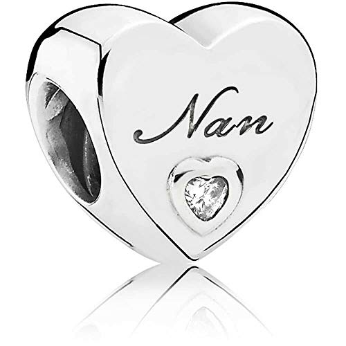 MsRosy Family Hearts Charms for Bracelets Hearts for Mom Dad Daughter Granddaughter Sister Best Friends Nan Auntie Sterling Silver Charms for Women Girls (Nan)
