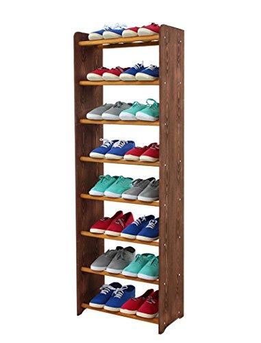 MODO24 Schuhregal Schuhschrank Schuhe Schuhständer RBS-8-45 (Seiten Dunkelbraun, Stangen in der Farbe Erle)