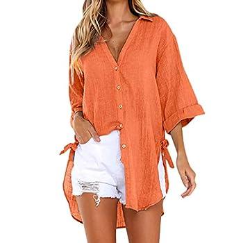 Womens Blouse Summer Womens Loose Tops Plus Size Button Long Shirt Dress Cotton Ladies Casual T-Shirt  XL Orange B