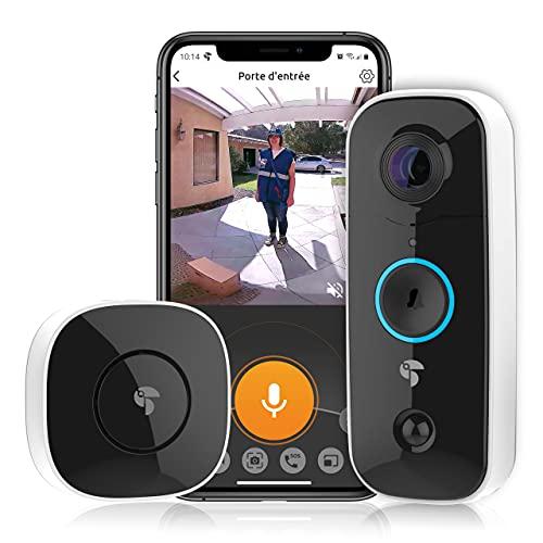 Toucan Vidéo Doorbell Sonnette connectée WiFi sans Fil, caméra 1080p HD, à Angle de Vue 180° WiFi avec détecteur de Mouvement, Vision Nocturne Audio bidirectionnel, IP56 résistant à l'eau