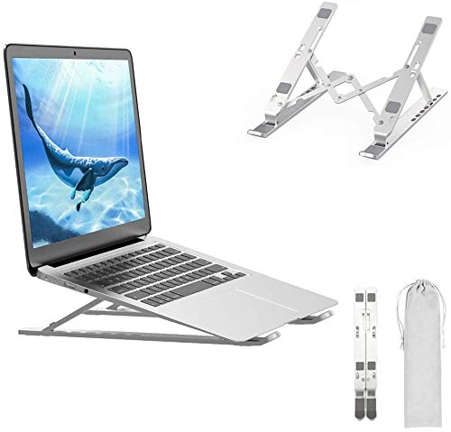 Portable Laptop Stand, Aluminium Alloy Adjustable Height Laptop Computer Stands, Ergonomic Foldable Desktop Holder,Ventilated Ultra-Thin Bracket for All Laptops and Ipad (Silver)