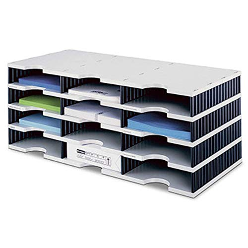 styrodoc Sortierstation trio mit 12 Fächern/268030498 723x331x293mm grau/schwarz