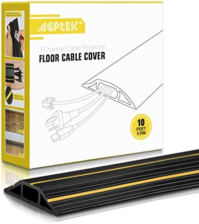 Floor Cable Cover 10 Ft Floor Cord Protector 3 Channels Contains Cords Cables and Wires Perfect product image