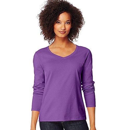 Hanes Women's Long-Sleeve V-Neck T-Shirt_Violet Splendor_L