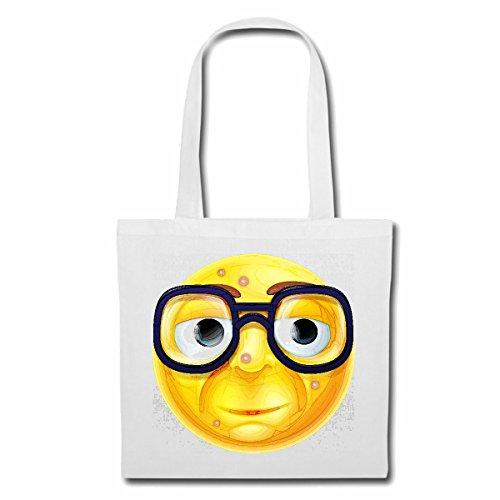 Tasche Umhängetasche Geek Smiley Nerd Smiley MIT GROSSER Brille Smileys Smilies Android iPhone Emoticons IOS GRINSEGESICHT Emoticon APP Einkaufstasche Schulbeutel Turnbeutel in Weiß