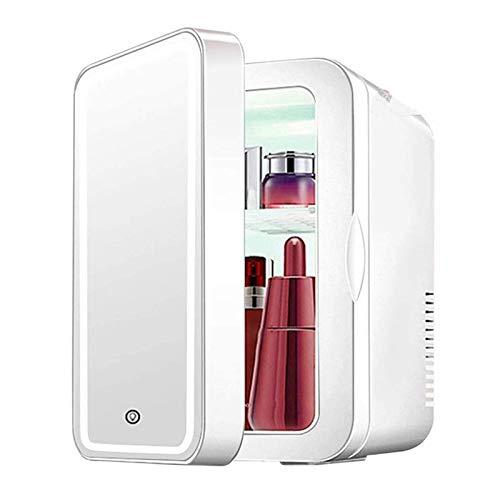Mini Nevera Refrigeradores Portátiles 8L Refrigerador Y Calentador Eléctrico Para Productos Para El Cuidado De La Piel Casa Y Coche Almacenamiento De Maquillaje (Diseño De Espejo Y Luz LED)
