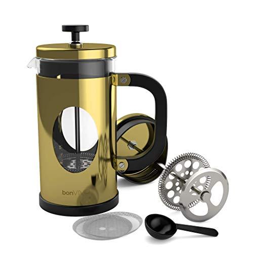 BonVivo GAZETARO I French Press - Design-Kaffeebereiter in Gold-Optik - Kaffeekocher aus Glas mit Edelstahl-Filter – Kaffeekanne 1 Liter (8 Tassen)
