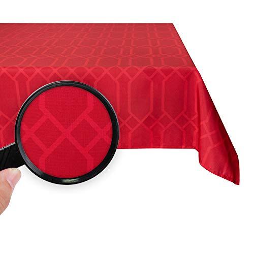 Valia Home Tischdecke Tischtuch Tafeldecke abwaschbar wasserdicht schmutzabweisend Lotuseffekt pflegeleicht Teflon behandelt eckig 140 x 280 cm rot
