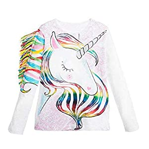 Toddler Kid Baby Girls Tassel Fringe Unicorn Tee Long Sleeve Tops T- Shirt