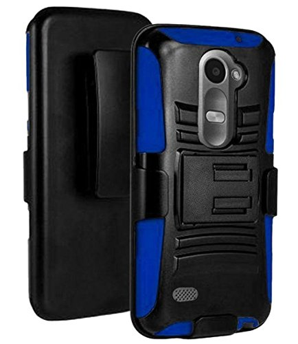 LG Leon Case / LG Power Case / LG Destiny Case , [ Storm Buy ] Premium Hard & Soft Sturdy Durable Shockproof Rugged Shell Hybrid Protective [ Anti Scratch ] Phone Case Cover with Built in Kickstand For LG Leon C40 (T-Mobile) / LG Power L22C (Staight Talk) / LG Destiny L21G Case (Holster Blue)
