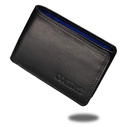 Colin's Geldbörse Herren klein Leder RFID - Schutz I Querformat I 4 Kartenfächer I Münzfach, Außenfach, Geheimfach