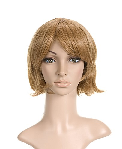 Golden Light Brown with Bangs Short Length Anime Cosplay Costume Wig