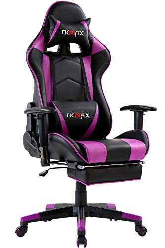 Ficmax Massage Gaming Chair Ergonomic Computer Gaming Chair with Footrest Reclining Computer Chair High Back Gaming Desk Chair Racing Style Home Office Chair With Head and Lumbar Support(Black/Purple) chair footrest gaming