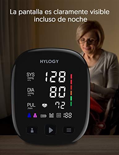 413IPVkTfAL - HYLOGY Tensiómetro de Brazo, Monitor de Presión Arterial Digital Automatico con Gran Pantalla Led, Deteccion de Irregular Arritmia, Brazalete 22-42cm, 2x90 Memoria y Usb