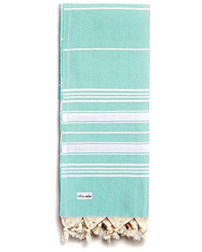 Captain&Mermaid® Premium Strandtuch aus 100% Baumwolle Oeko-TEX®   Badetuch   Handtuch   Yoga   Peshtemal   Sauna Tuch   Hamam Tuch   leicht, dünn & extra saugstark (Seafoam)