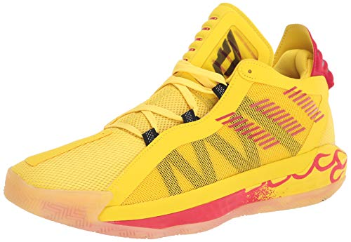 adidas Dame 6 Basketball Shoe, Team Yellow/Black/Scarlet, 7.5