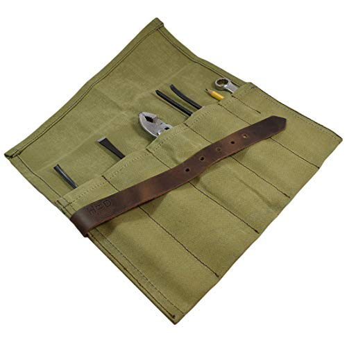 Hide & Drink, Waterproof Waxed Canvas Tool Roll Up Bag (6 slots), Portable Carry On Pouch Workshop Storage Woodworking Tools Organizer, Vintage, Handmade Includes 101 Year Warranty