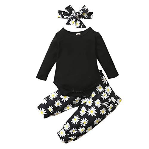 Geagodelia 3tlg Babykleidung Set Baby Mädchen Kleidung Outfit Langarm Body Strampler + Blumen Hose + Stirnband Neugeborene Kleinkinder Weiche Babyset T-46105 (Schwarz 293, 0-6 Monate)