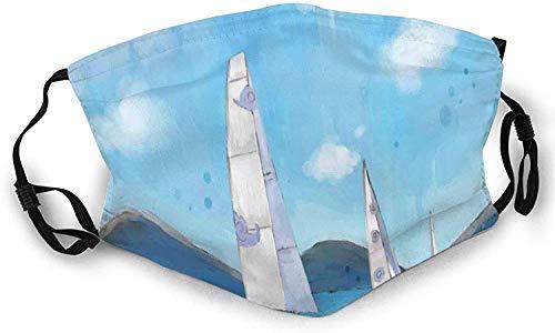 Lansdscape von Segelbooten Pinselstrich Technik gebeizte Schablone Wiederverwendbare Gesichtsmaske Sturmhaube Waschbare Nasenmundabdeckung für Männer und Frauen im Freien