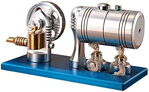 MRKE Stirlingmotor Bausatz LED Retro Steam Stirling Engine Model Kit Spielzeug Geschenk mit Heizkessel Alkoholbrenner für Stirling Modell Liebhaber ab 10 Jahren
