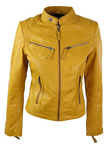 Aviatrix Damenjacke 100% Echtleder Gelb Eng Tailliert Biker Stil Vintage - Gelb, S