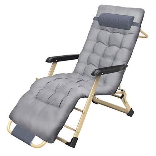 ZHJYD Sillón reclinable Las sillas reclinables Gravedad Cero Acolchado al Aire Libre Jardín alisador Tumbona jardín Patio de Accesorios sillas Plegables reclinables con reposacabezas MAX.200kg - Gris